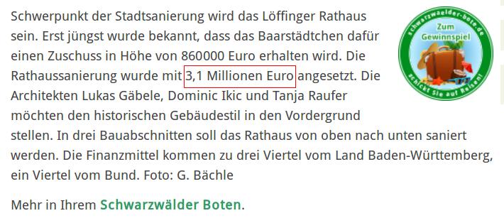 Rathaus 3,1 Mio