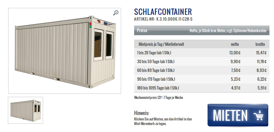 Rathaus Schlafcontainer