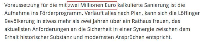 Rathaussanierung 2 Mio